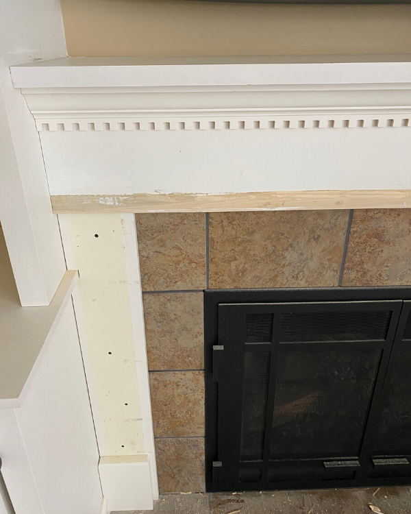 Fireplace after removing decorative trim