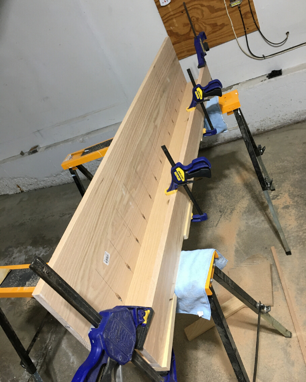 Using clamps to build the mantel top