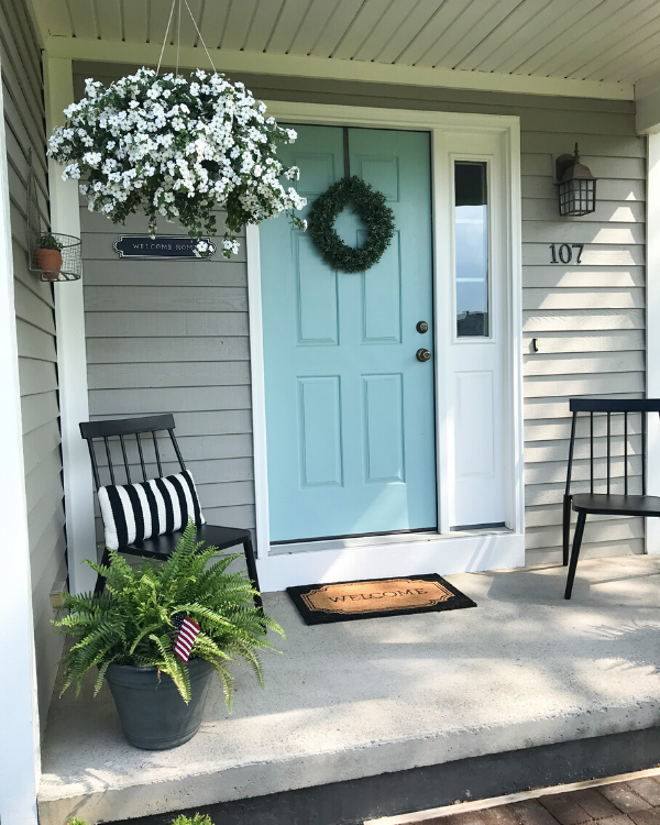 SW festoon aqua on the front door for a pop of color, one of my favorite paint colors!