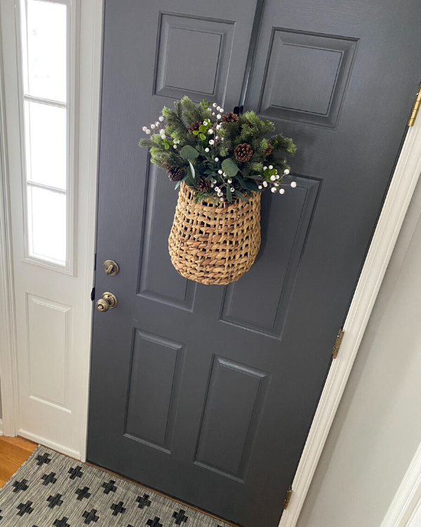 Interior front door painted in SW peppercorn, one of my favorite paint colors
