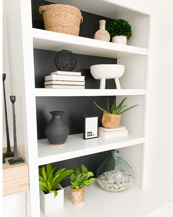 I used plants when styling my shelves.