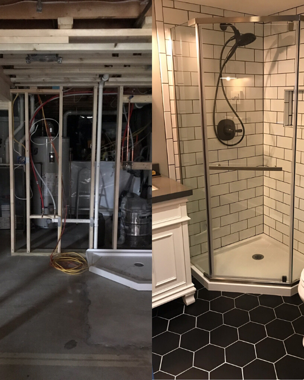 Before and after of the bathroom added to the basement.
