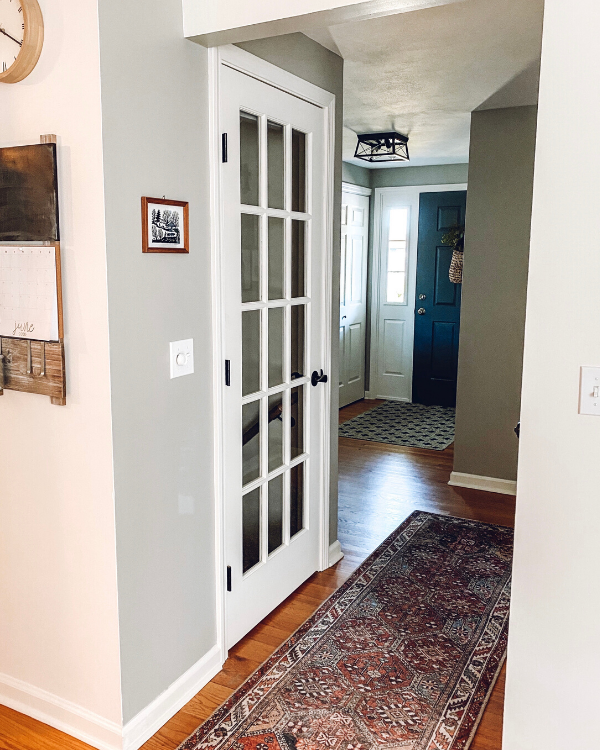 The french door entrance to the basement. It's one if the 10 things you won't regret doing when finishing a basement.