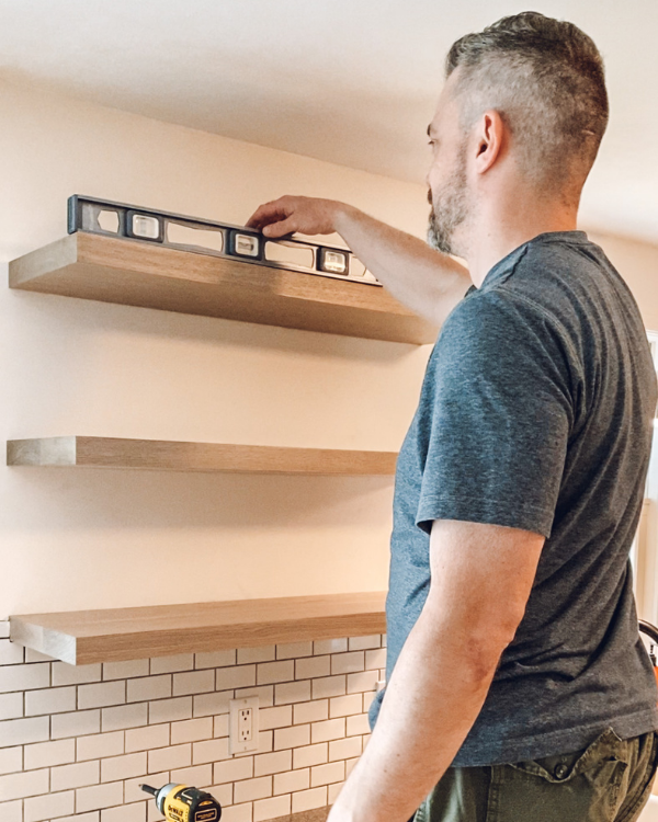 Making sure the shelves are level