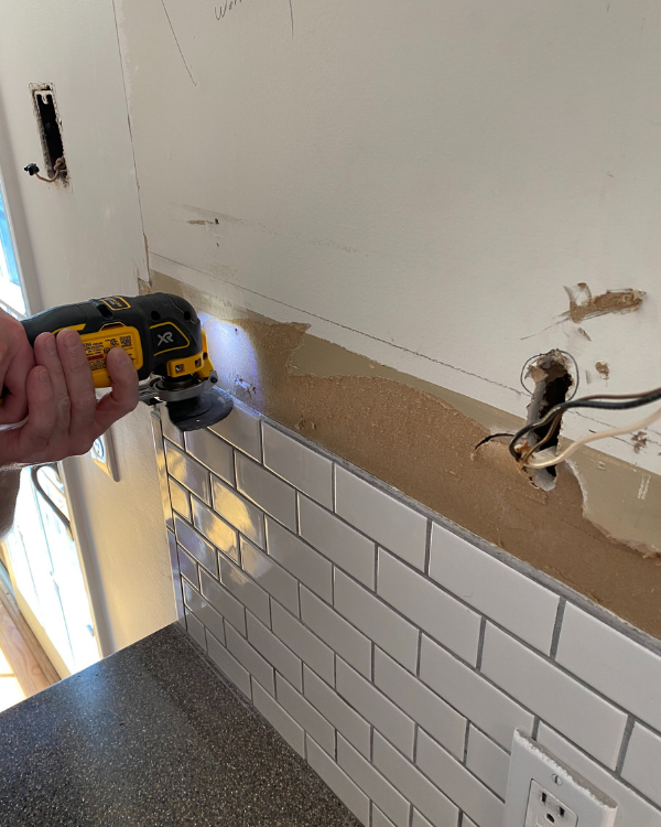 Removing the grout to be able to retile