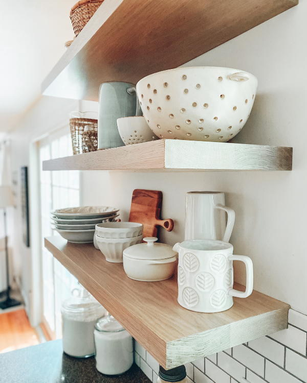 Yoyu can learn how to hang floating shelves then style them with cute decorative items.